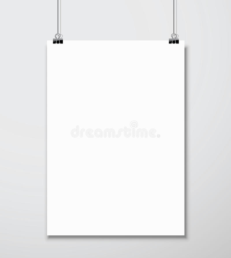 Free Empty White A4 Sized Vector Paper Mockup Hanging With Paper Clip Stock Image - 47517601