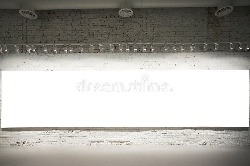 Empty white banner on wall stock images