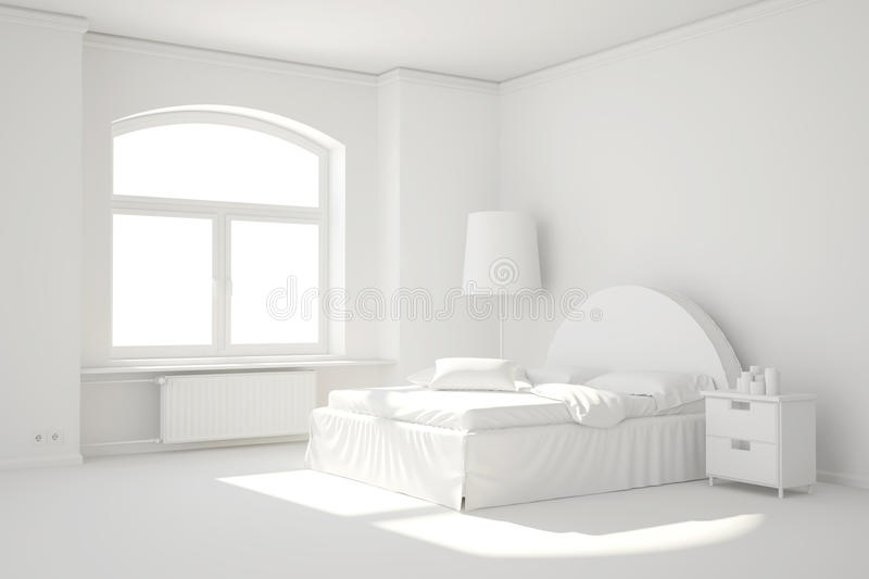 Empty white bed room with window vector illustration