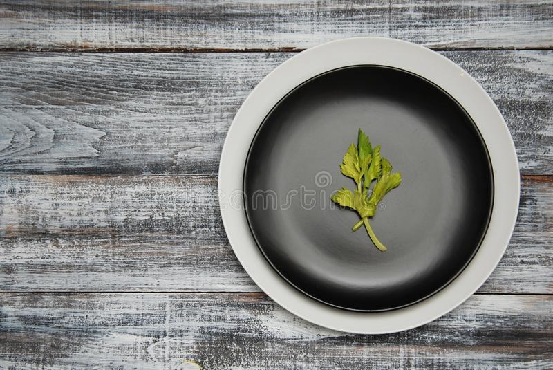 Empty White and Black Plates with A green Leave over old Gray wooden background. Top view. Copy space. Diet Concept royalty free stock photography
