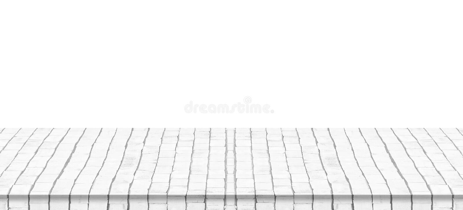 Empty white brick floor top isolated on white. Background stock images