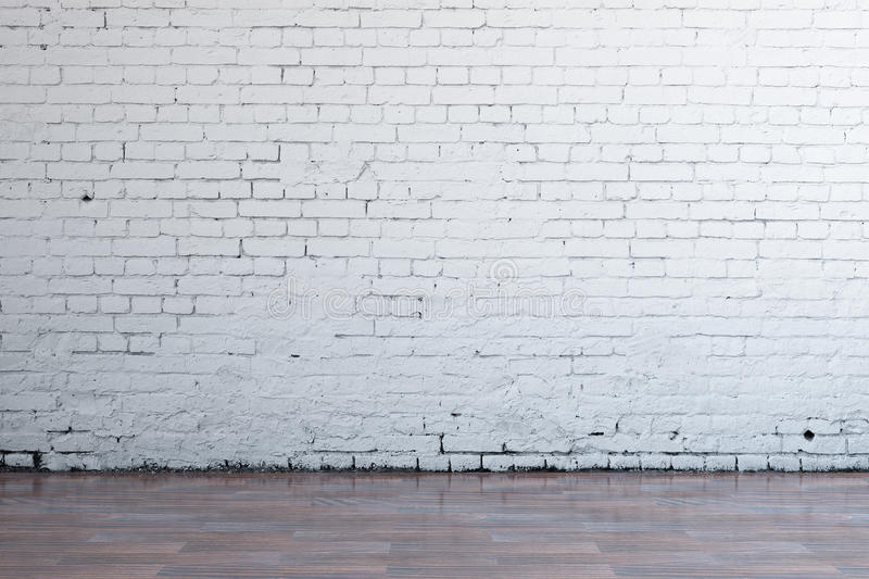 Empty white brick wall. Front view of interior with blank brick wall and dark wooden floor. Mock up, 3D Rendering vector illustration