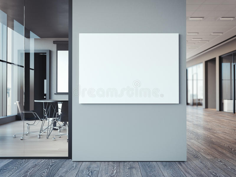 Empty white canvas on the office gray wall. 3d rendering vector illustration