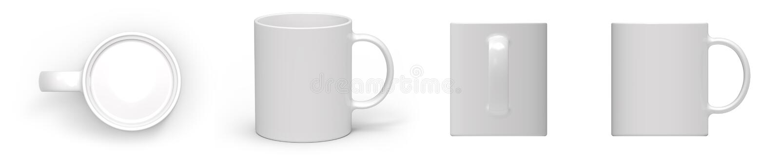 Empty white ceramic mug cup 4 view stock photography