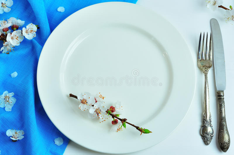 Download Empty White Ceramic Plate With Iron Vintage Cutlery Stock Image - Image of empty & Empty White Ceramic Plate With Iron Vintage Cutlery Stock Image ...
