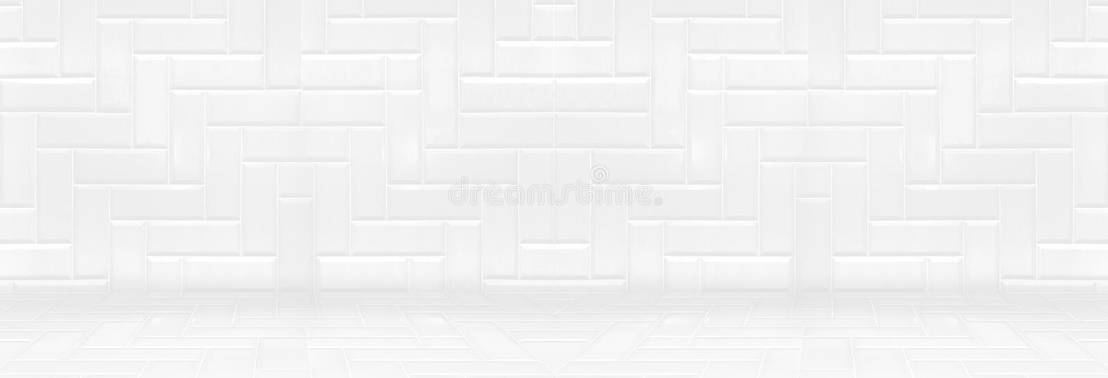 Empty white clean ceramic tile wall and floor background,Minimal simple style interior backdrop.panoramic banner for display of p. Roduct or design stock photo