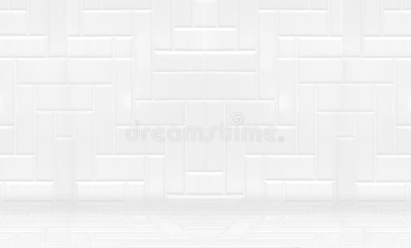 Empty white clean ceramic tile wall and floor background,Minimal simple style interior backdrop stock images