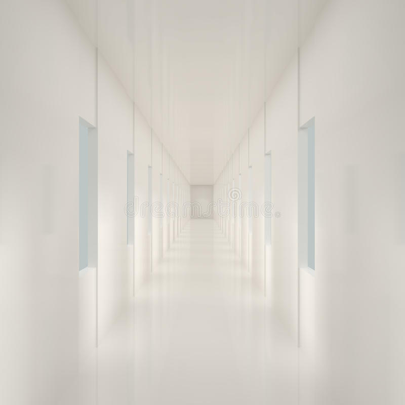 Empty White Corridor Royalty Free Stock Photo