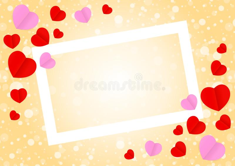 Empty white frame and red pink heart shape for template banner valentines card background, many hearts shape on orange gradient vector illustration
