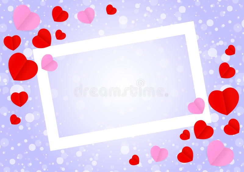 Empty white frame and red pink heart shape for template banner valentines card background, many hearts shape on purple gradient stock illustration