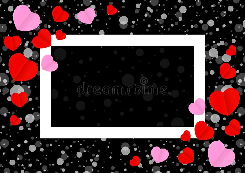 Empty white frame and red pink heart shape for template banner valentines card black background, many hearts shape on black vector illustration