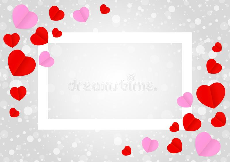 Empty white frame and red pink heart shape for template banner valentines card grey background, many hearts shape on grey vector illustration
