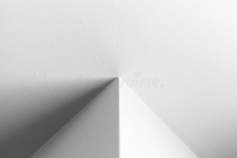 Empty white interior design with corner. Abstract architecture background, white interior design with corner, black and white photo stock photo