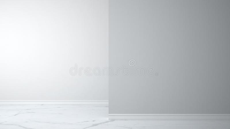 Empty white interior with marble floor with foreground wall, concept architecture interior design with copy space stock photography