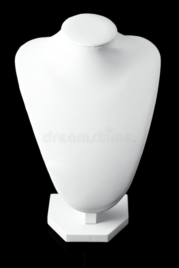 Empty white jewelry stand isolated on black background. stock image