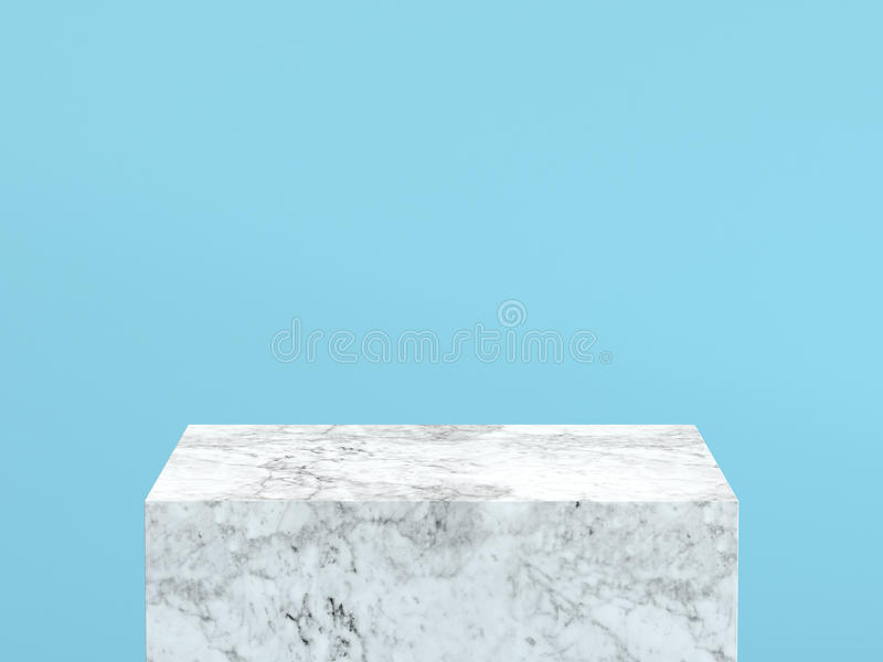Empty white marble podium on pastel blue color background. 3D rendering. royalty free illustration