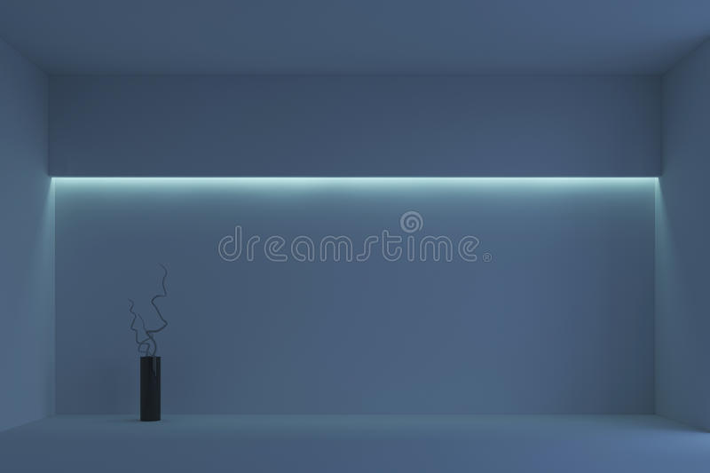 Empty white minimalist room with blue backlight. 3d rendering. White minimalist room with blue backlight and vase with branches. 3d rendering royalty free stock photography