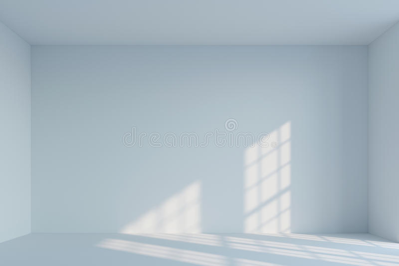Empty white minimalist room. 3d rendering. Perspective empty white minimalist room with falling light from the window. 3d rendering stock image