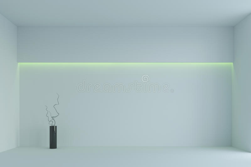 Empty white minimalist room with green backlight. 3d rendering. White minimalist room with green backlight and vase with branches. 3d rendering royalty free stock photo