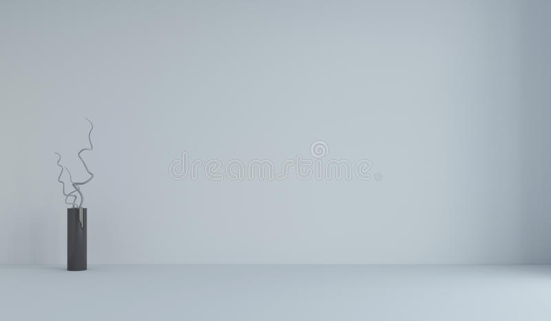 Empty white minimalist room and vase with branches. 3d render. Ing stock photo