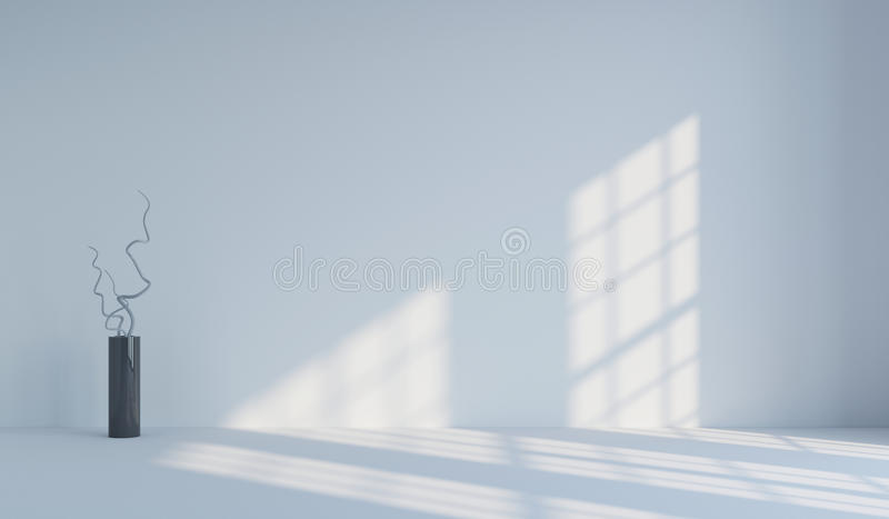 Empty white minimalist room and vase with branches.. 3d rendering. Empty white minimalist room with falling light from the window and vase with branches. 3d stock photos
