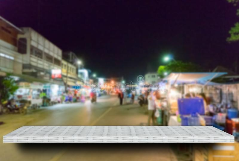 Empty night market street display table counter shelf background product display copy space for display of products stock images