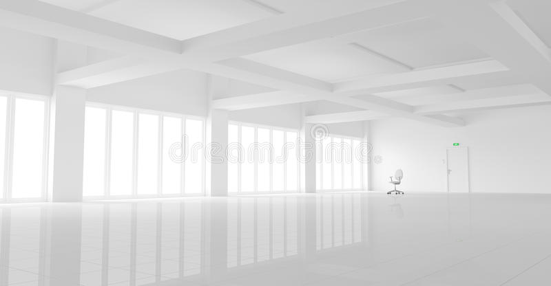 Empty white office. 3d illustration of a large empty white office with a single office chair stock illustration