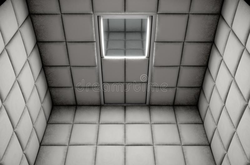Empty Padded Cell. An empty white padded cell in a mental hospital - 3D render royalty free illustration