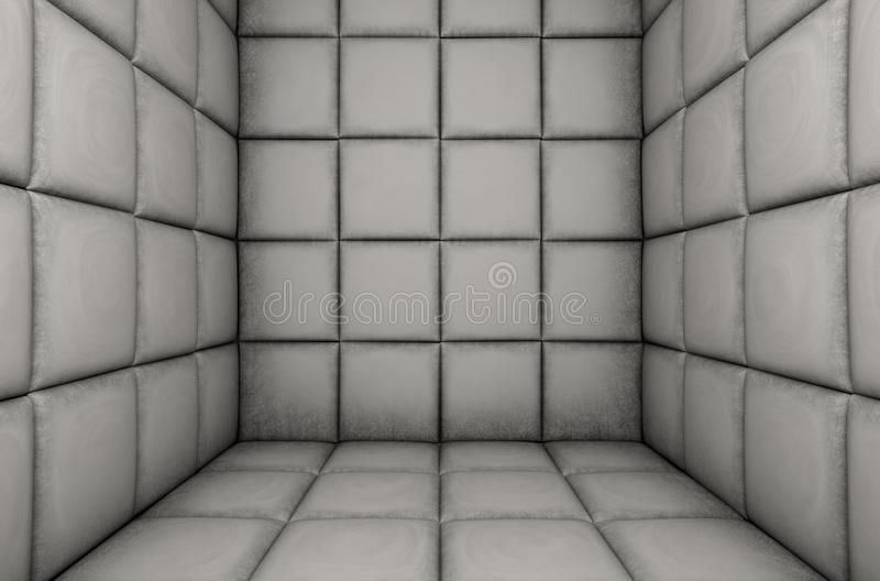 Empty Padded Cell. An empty white padded cell in a mental hospital - 3D render vector illustration