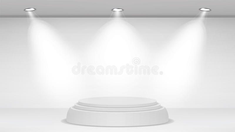 Download Empty White Photo Studio Interior Background. Realistic Spotlight.  Vector Illustration. Stock Vector