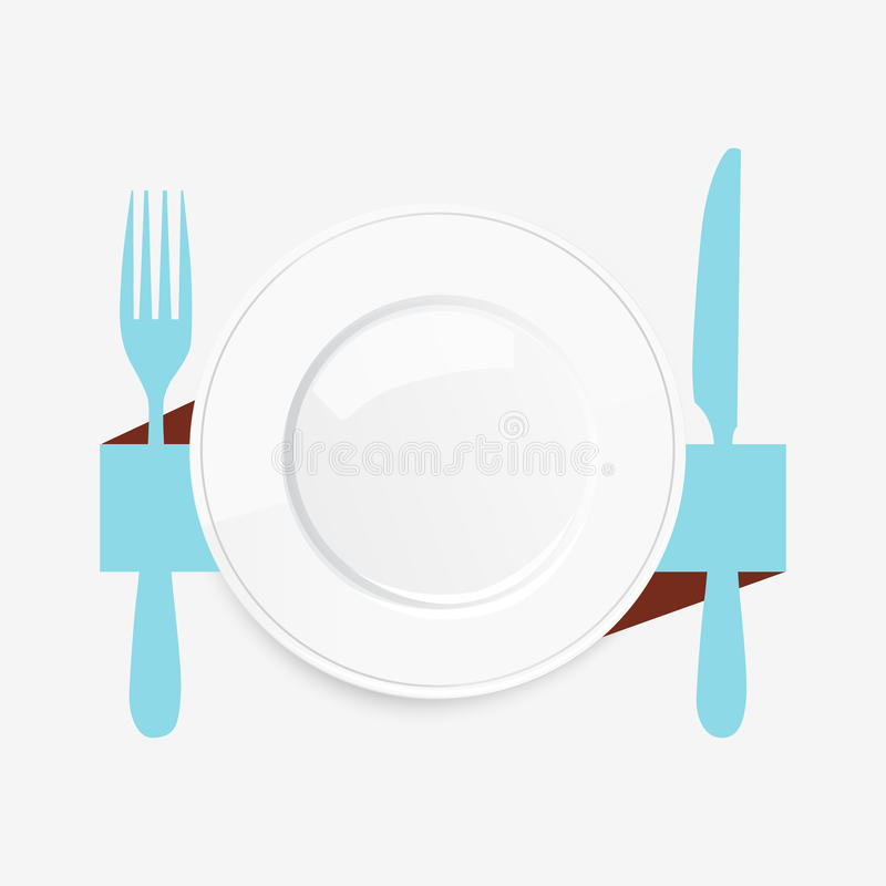 Empty white plate with a blue knife and fork royalty free illustration