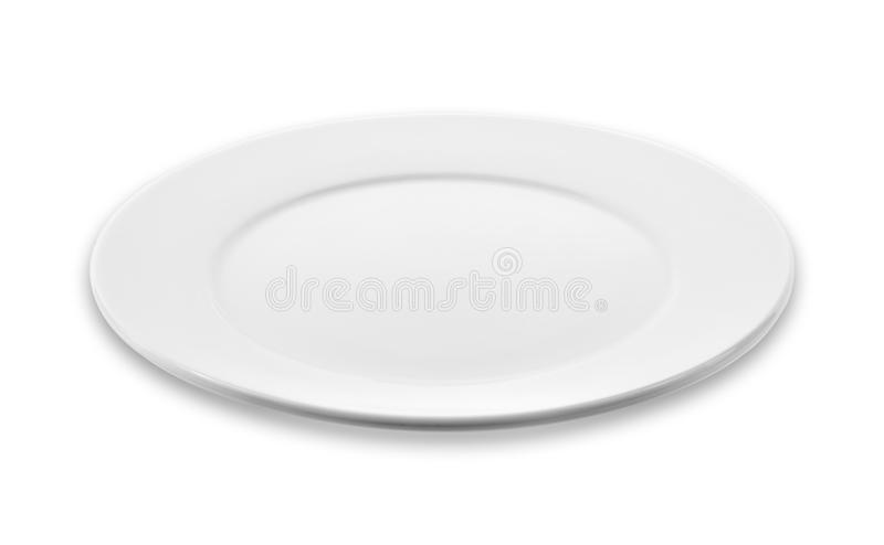 Empty white plate, dish isolated on white background. stock photo