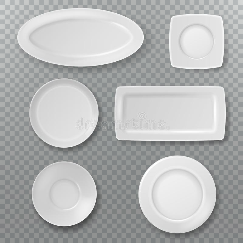 Empty white plate. Food plates top view topping dish bowl from above kitchen ceramic elements cooking porcelain isolated. Vector set royalty free illustration