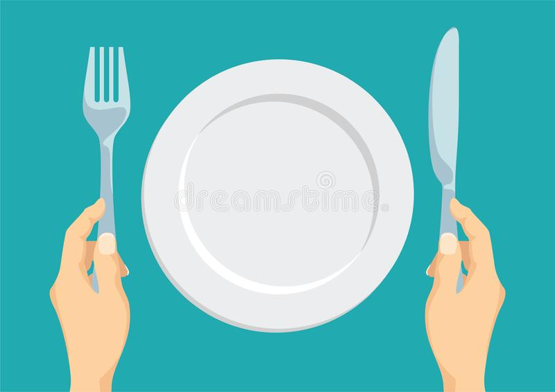 Empty white plate. Fork and knife in hand. stock illustration
