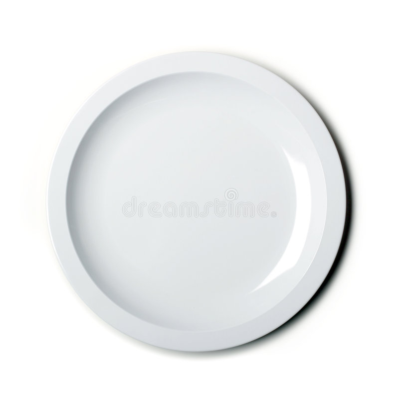 Empty white plate isolated stock photography