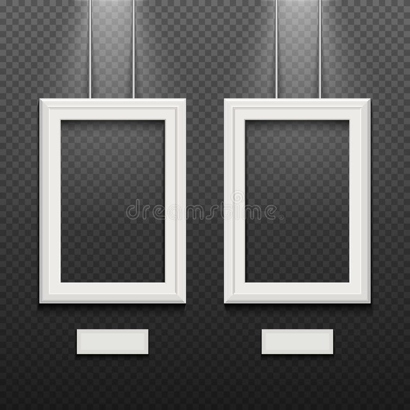 Empty White Poster Frames Isolated On Transparent Checkered Wall ...