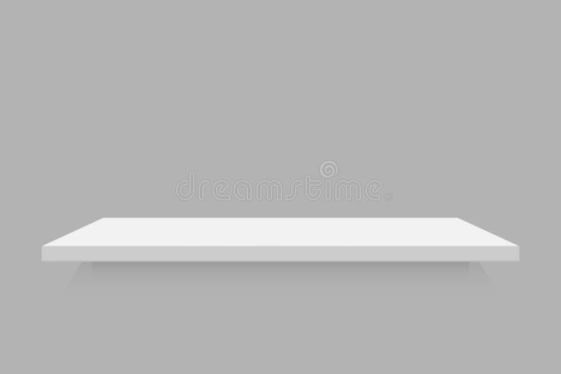Empty white retail shelf. Realistic vector bookshelf vector illustration