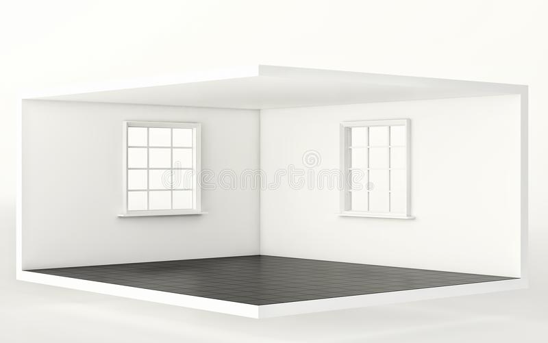 Empty white room with black floor and two windows, interior for design and decoration. 3d render stock illustration