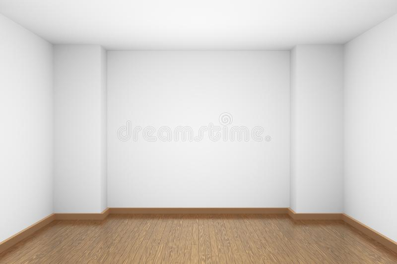 Empty white room with brown wooden parquet floor. Empty room with white walls and ceiling and brown wooden parquet floor and soft light, simple minimalist stock illustration