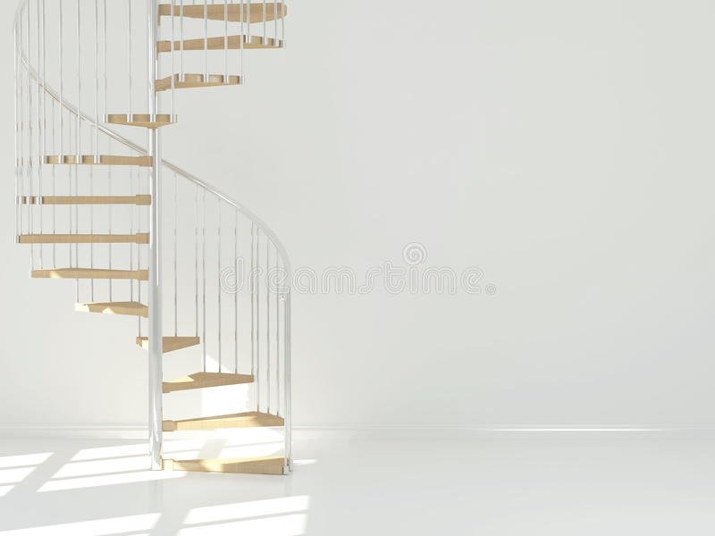 Empty white room with circular staircase. royalty free stock images