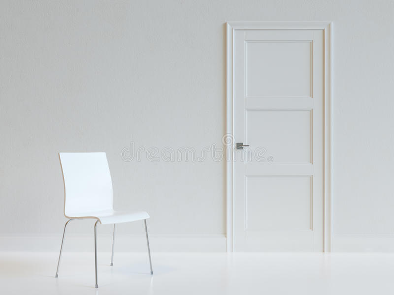 Empty White Room Interior With Chair. Empty White Room Interior With Chair royalty free stock photography