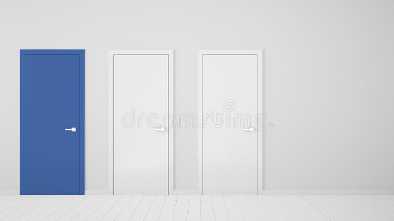 Empty white room interior design with closed doors with frame, one blue door, wooden white floor. Choice, decision, selection, royalty free illustration