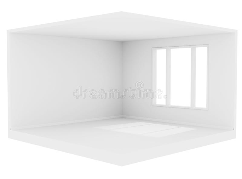 Empty white room with a large window and white walls, ceiling and floor, 3d rendering illustration of interior royalty free illustration