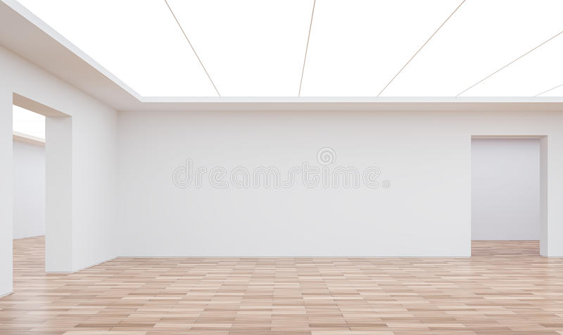 Empty white room modern space interior 3d rendering image. White room Many rooms are connected.There are wood floor,white wall vector illustration