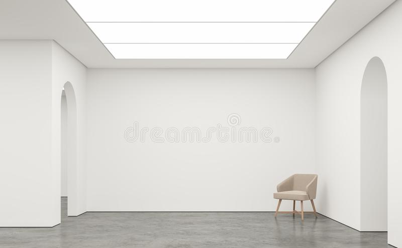 Empty white room modern space interior 3d rendering image. White room Many rooms are connected with arch shape door.There are poliished concrete floor,white royalty free illustration