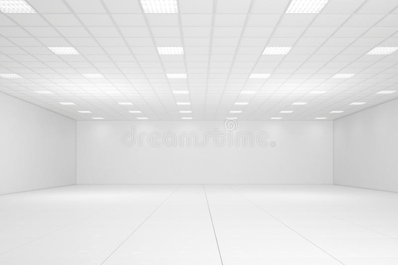 Empty white room. With neon lights and white walls