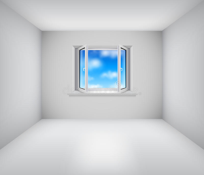 Empty White Room With Open Window Stock Images