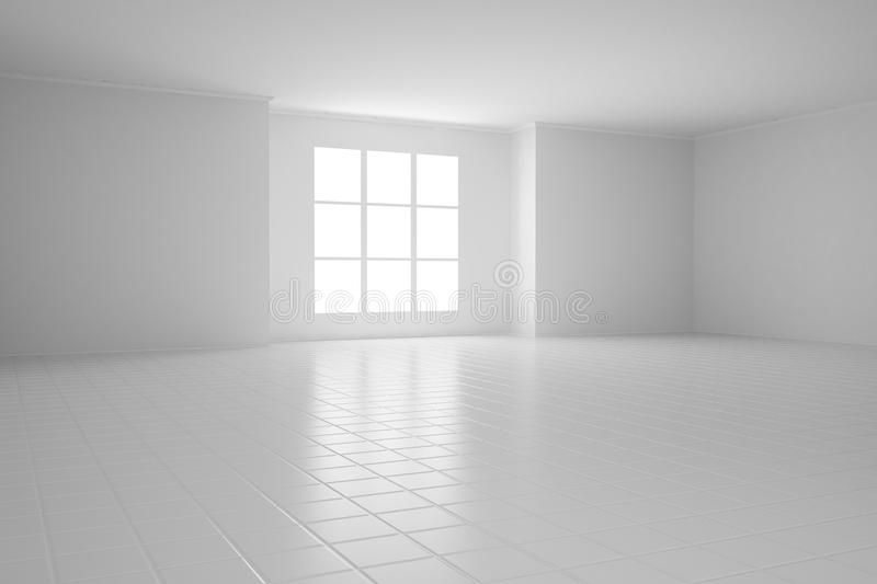 Empty White Room With Square Stock Illustration