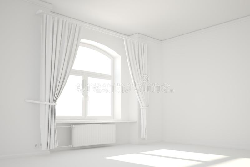 Empty white room with window royalty free illustration