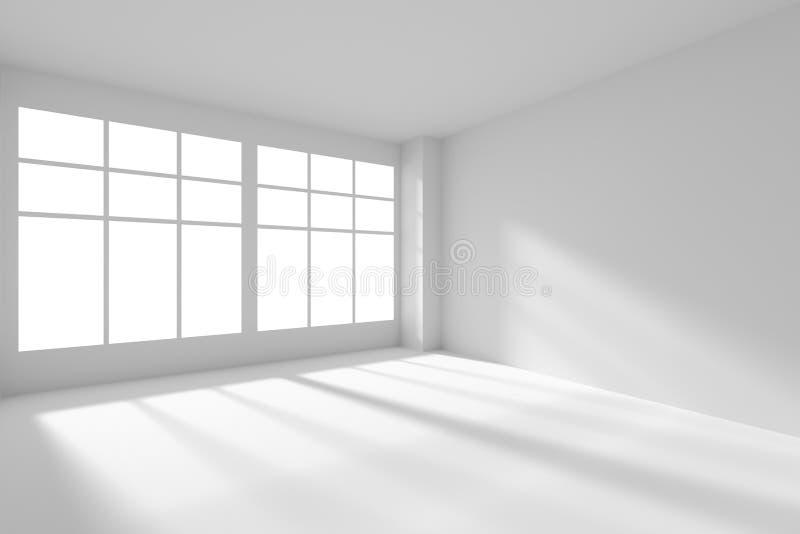 Empty White Room With Windows And Sunlight Stock Illustration Illustration Of Blank Flooring